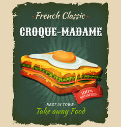retro fast food french sandwich poster vector image