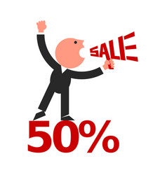 Sale lettering man crying into megaphone vector