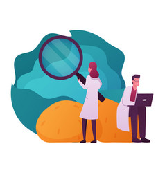 Scientist characters in lab coats learning huge vector