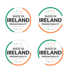 Set four irish icons made in ireland vector