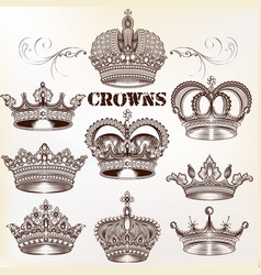 set hand drawn detailed crowns for design vector image