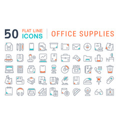 set line icons office supplies vector image