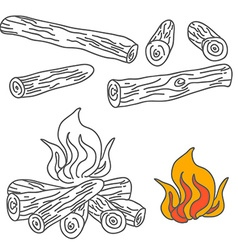 Set of firewood and campfire vector