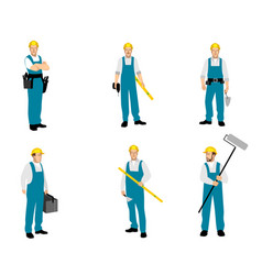 set of six builders finishers vector image