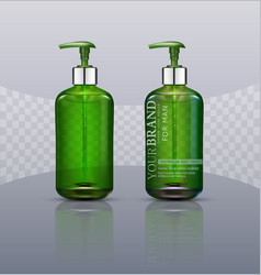 Set realistic green transparent bottles with vector