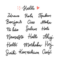 Set word hello in different languages linear vector