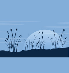 Silhouette of course grass with moon landscape vector