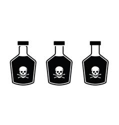 Skull danger icons glass poison bottle vector
