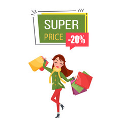Smiling woman warm coat tousers presents gifts vector