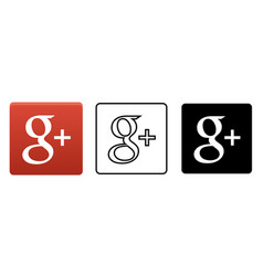social media icon set for google plus in different vector image