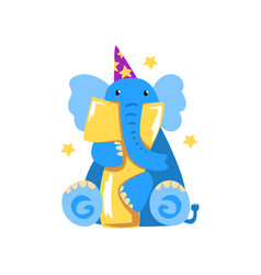 Sweet elephant and number seven happy birthday vector