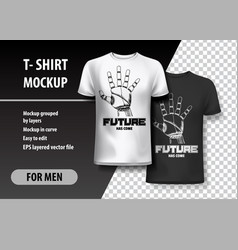 T-shirt template fully editable with robot hand vector