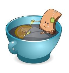 Tea bag in a cup vector