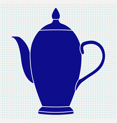 teapot blue silhouette on vector image