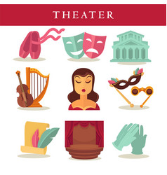 Theater flat poster of symbolic equipments on vector