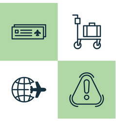 transportation icons set collection of airport vector image