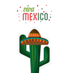 Viva mexico cactus hat festive vector