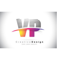vp v p letter logo design with creative lines and vector image
