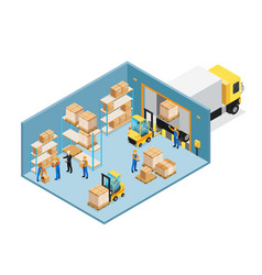 Warehouse inside isometric composition vector