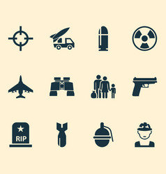 warfare icons set with fighter bomb bio hazard vector image