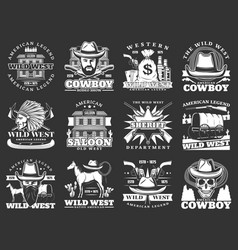 Western saloon cowboy wild west isolated icons vector