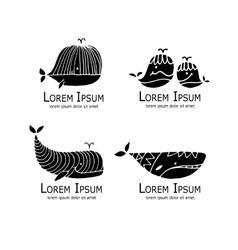 Whales logo set sketch for your design vector image