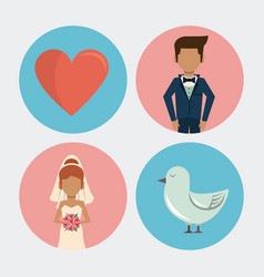 White background with wedding icons on round vector