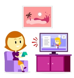 Woman Watching A Cooking Show vector image