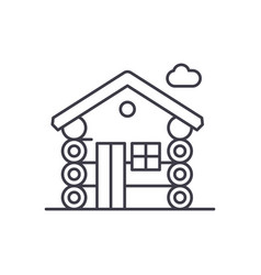 wooden house line icon concept wooden house vector image