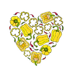 yellow bell peper heart shape wreath half of vector image