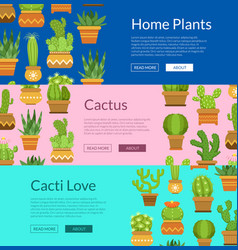 banner set with home plant cacti vector image vector image