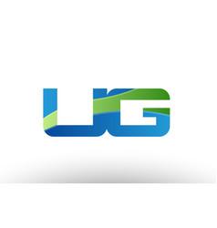blue green ug u g alphabet letter logo vector image vector image