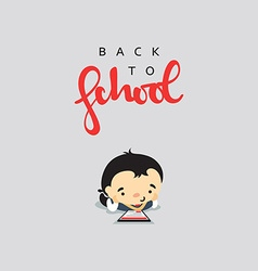 Boy student with a backpack and modern gadget vector image