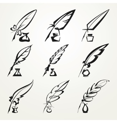 collection feather pen and ink vector image vector image