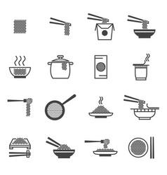 noodle signs black thin line icon set vector image