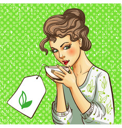 pop art of woman with cup of vector image