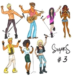 Singers - part 3 Hand drawn collection vector image