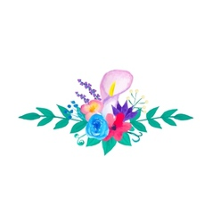 Watercolor flowers and leaves vector image
