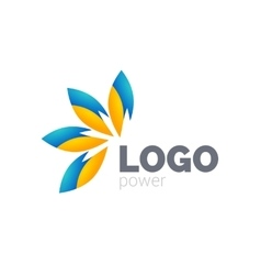 Yellow blue leafs logo design Four leafs logotype vector image vector image