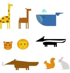 Cartoon animals zoo set wildlife flat vector image