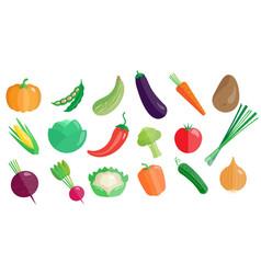 fresh vegetables big set healthy vegetarian vector image vector image