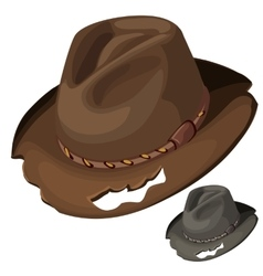 Old mens brown hat with holes isolated vector image vector image