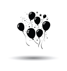 Party balloons and stars icon vector