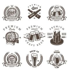 Set of vintage beer brewery emblems vector image