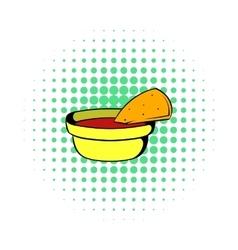 Pepper sauce with pita bread icon comics style vector