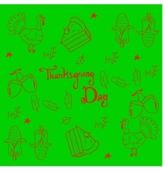 Thankgiving vegetable in doodle on green vector