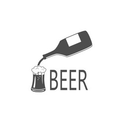 black silhouette of beer bottle and glass vector image
