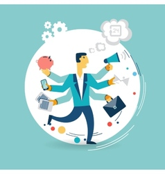 Businessman with many arms does a lot of work vector image vector image