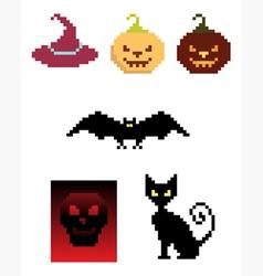 halloween pixel icons vector image vector image
