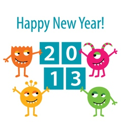 Happy monsters 2013 card vector image vector image